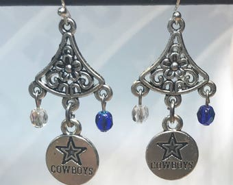 Dallas Cowboys Earrings With Sterling Silver Ear Wires