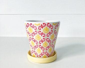 Ceramic Planter Flower Pot Drainage Hole Attached Saucer