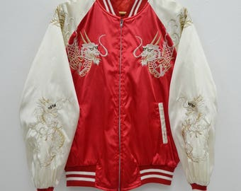 Vintage Japanese Traditional SUKAJAN Dragon Japan Yakuza Embroidery Souvenirs Jacket Size M-L