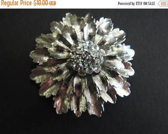 ON SALE stunning rare estate large silver plate and rhinestone flower brooch
