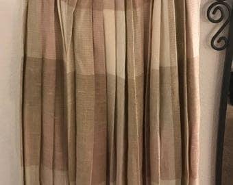 Vintage pleated skirt, tan plaid, Evan Picone