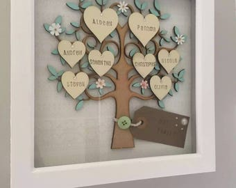 Gifts for mum, family tree frame, grandchildren frame, personalised wooden tree, wall hanging, home decor,valentines gift, family tree