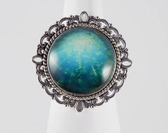 Turquoise Galaxy Cabochon Round Silver Ring