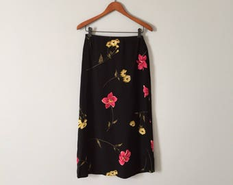 Jones New York silk midi skirt | floral silk semi sheer skirt | yellow and pink flowers skirt