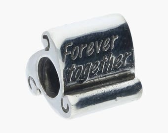 "Authentic Sterling Silver Pandora ""Forver Together Scroll"" Charm #790513"