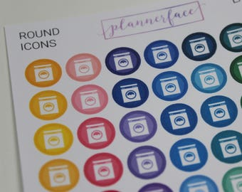 Laundry | 63 Multicolour Icons, Functional Planning, Rainbow Icons, Washing Machine, Tumble Dryer, Chores, Cleaning Stickers (Q013)
