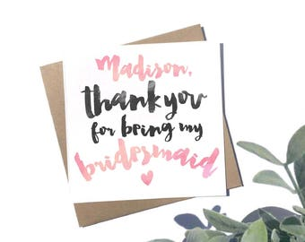 Personalised Thank You For Being My Bridesmaid Card - Personalised Wedding Card - Personalised Bridesmaid Card - Rustic Wedding Stationery