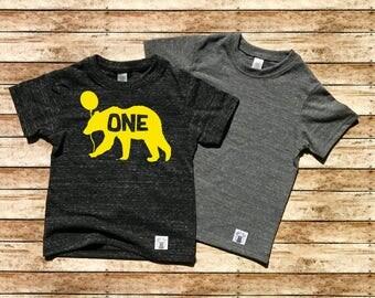 Children's Toddler Tri-Blend T-Shirt Birthday Bear T Shirt - Bear Birthday - Birthday Shirt - Birthday Custom Bear With Number Balloon