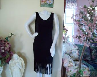Flapper Fringe Dress, Black Fringe Dress, Black Flapper-Fringe Dress, size M