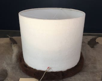 Lampshade in wool and real brown rex rabbit fur pipping