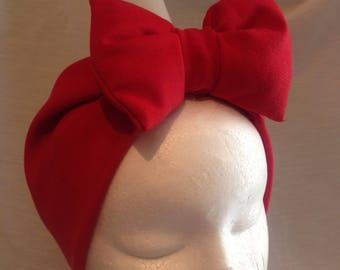 Padded bow headband style turban (made to order).