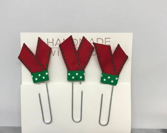 Christmas Holiday Planner Clips School Supplies Ribbon Red and Green Paper Clips Stocking Stuffers Bookmarks Planner Accessories