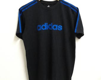 RARE!!! Adidas Equipment Big Logo Embroidery 3 Stripes SpellOut Crew Neck Black Colour T-Shirts M Size