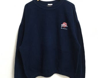 RARE!!!! Planet Hollywood San Francisco Smal Logo Embroidery Crew Neck Dark Blue Colour Sweatshirts Hip Hop Swag XL Size