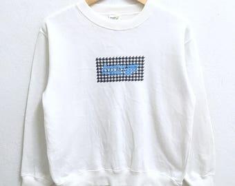 RARE!!! Benetton Formula 1 Big Logo Crew Neck Cream Colour Sweatshirts Hip Hop Swag M (Boys) Size