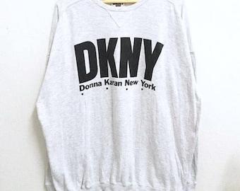 RARE!!! Donna Karan New York Big Logo SpellOut Crew Neck Grey Colour Sweatshirts Hip Hop Swag XL Size