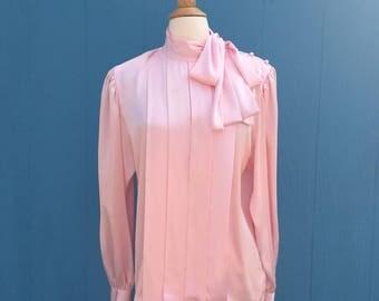 1980s pink satin tie blouse/dynasty/soap opera/designing women/julia sugarbaker/pretty in pink/secretary/size large x large