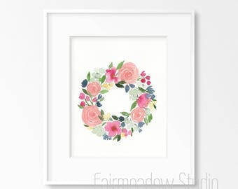 Rosy Wreath 11x14 Original Watercolor