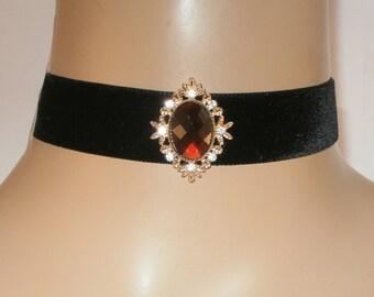 Black Velvet Choker with Ornate Central Red Diamante Jewel FREE GIFT BOX