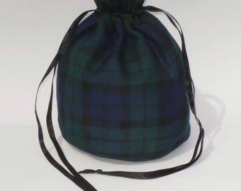 Green & Purple Tartan Dolly Bag Purse Evening Handbag With Black Satin Ribbon