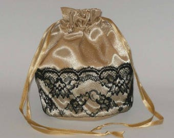 Gold Satin & Half Lace Dolly Bag Evening Handbag / Purse For Wedding /Bridesmaid/ Prom Drawstring