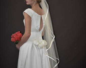 "58"" Angel Cut Ballet Veil with Folded 3/8"" Satin Ribbon Edge"