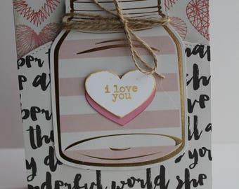 Friendship Card, I Love You Card, Thank You Card, Handmade Card, Greetings card, Heart Card, Valentine Card
