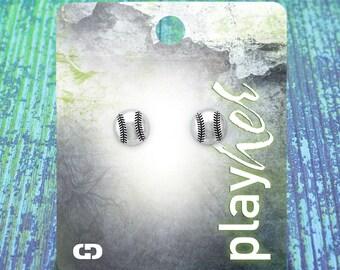 Baseball Post Earrings, Silvertoned - Great Baseball Gift! Free Shipping!