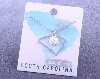 Customizable! State of Mine: South Carolina Volleyball Enamel Necklace - Great Volleyball Gift!