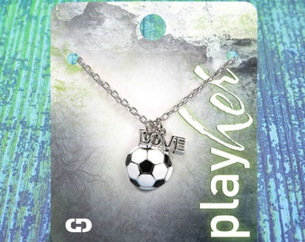Customizable Soccer Love Enamel Necklace - Personalize with Jersey Number, Heart Charm, or Letter Charm! Great Soccer Gift!
