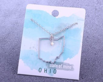 Customizable! State of Mine: Ohio Silver Necklace - Great Gift!