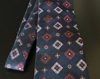 Vintage Hart-Albin Men's Necktie, Navy and Red Necktie,
