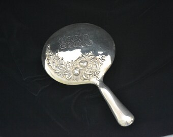 Beautiful  Antique Sterling Silver Hand Mirror