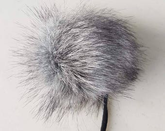 The SMOKE pom pom // Faux fur pom poms, handmade hat accessory, cruelty free fur, large pom poms, 5 inch