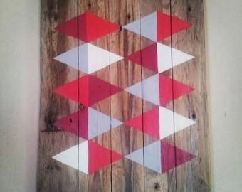 Geometric painting on pallet wood (50 x 38)