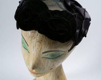 vintage hat / 1950s vintage hat / 50s hat / noir /vintage fasinator