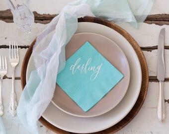 "Breakfast at Tiffany's Themed Bridal Shower ""Darling"" Cocktail Napkins For A Bridal Brunch Or Bridal Shower - Pack of 20"
