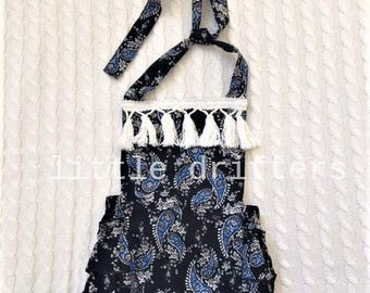 Gorgeous Boho Fringed Romper Midnight Blue Size 3-6 Months - 18-24 Months