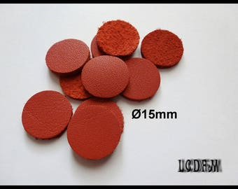 * ¤ Rounds 10 - 15mm diameter red leather ¤ * #C27