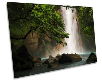 Rain Forest Waterfall Green CANVAS WALL ART Framed Picture Print