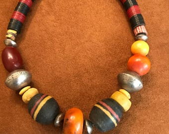 Bold African Amber and Trade Beads