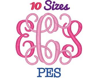 Interlocking Monogram Embroidery Font Machine Embroidery Fonts PES Format File Pack Set 10 Sizes Digital Design Instant Download