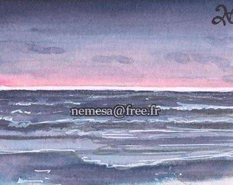 ACEO Peinture Carte Original Sketch Card Landscape Mer Sea Ocean Romantic PSC