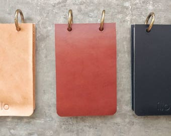 Refillable Reporter Notebook Vegetable Tanned Leather Ringed Reporter Notebook 100% post consumer recycled paper Solid Brass Rings