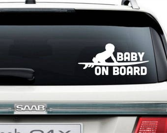 Baby On Board Funny Bumper Sticker Vinyl Decal Surfer Baby