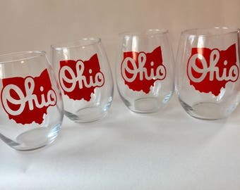 Set of four Script Ohio 21oz stemless wine glasses
