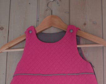 New: Babygro / sleeping bag newborn (0-6 months) pink color Fuchsia and cherry print - France Duval Stalla.