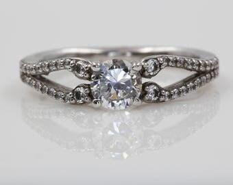 White Gold Diamond Engagement Ring | 8134