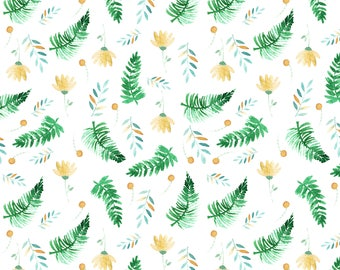 Cotton fabric - pattern in ferns, flowers and leaves