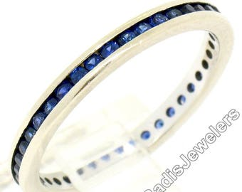 Antique Art Deco 14K White Gold 0.80ctw Round Single Cut Channel Set Natural Sapphire Eternity Band Ring Size 6